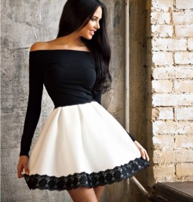 Black-White Patchwork Lace Boat Neck Long Sleeve Midi Dress