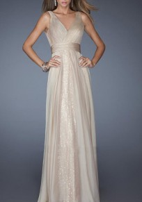 Apricot Plain Sequin V-neck Party Chiffon Maxi Dress