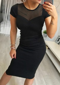 Black Patchwork Grenadine Zipper Round Neck Midi Dress