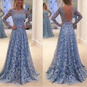 Blue Floral Hollow-out Lace Sleeveless Loose Maxi Dress