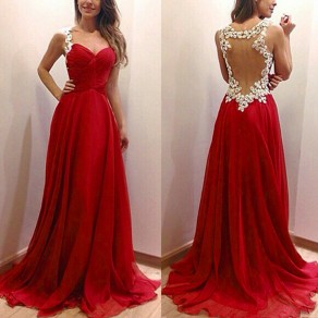 Red Patchwork Lace Backless V-neck Sexy Maxi Dress