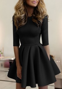 Black Plain Pleated Round Neck Fashion Mini Dress