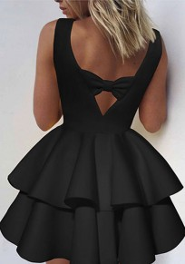 Black Pleated Bow Cut Out Round Neck Mini Dress
