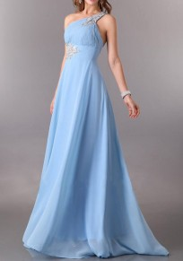 Light Blue Patchwork Sequin Backless Asymmetric Shoulder One-shoulder Elegant Maxi Dress