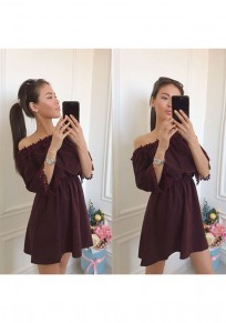 Brown Patchwork Lace Draped Off Shoulder 3/4 Sleeve Mini Dress