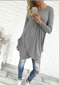 Grey Irregular Round Neck Long Sleeve Casual Midi Dress