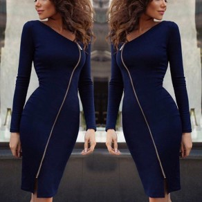 Sapphire Blue Cut Out Zipper Irregular Collar Fashion Midi Dress