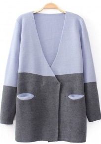Light Purple Patchwork Pockets Long Sleeve Cardigan