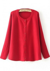 Red Plain Buttons Long Sleeve Cardigan