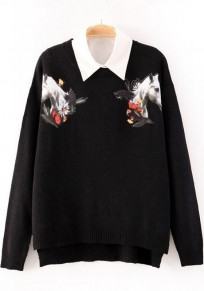 Black Horse Head Print False 2-in-1 Pullover