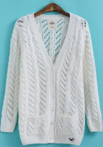 White Plain Hollow-out Pockets Cardigan