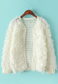 Beige Plain Sequin Cardigan