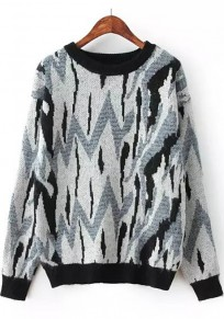Black-White Print Slim Pullover