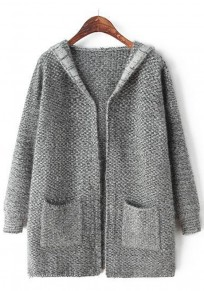 Dark Grey Plain Pockets Cardigan