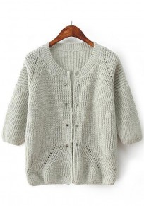 Light Grey Plain Rivet Cardigan