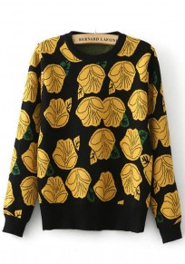 Black-Yellow Floral Print Pullover