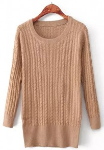 Khaki Plain Long Sleeve Knit Pullover