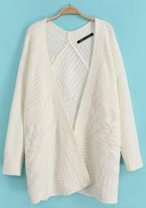 White Plain Long Sleeve Knit Cardigan