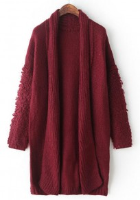 Wine Red Plain Turndown Collar Cardigan