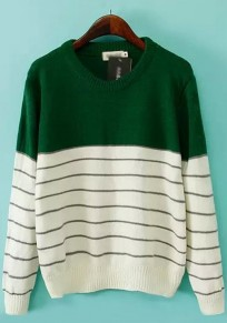 Green Striped Print Loose Pullover Sweater
