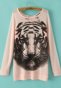 Pink Tiger Print Long Sleeve Knit Sweater