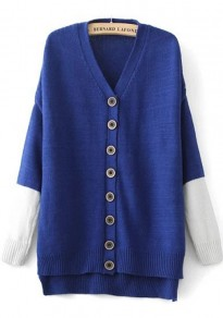 Blue Patchwork Single Breasted Cardigan