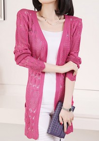 Rose-Carmine Plain Hollow-out Pockets Knit Cardigan Sweater