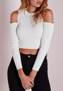 White Plain Cut Out Fashion Pullover Sweater