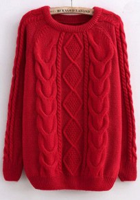 Red Twist Pattern Round Neck Casual Pullover Sweater