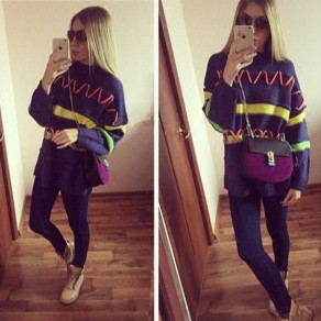 Navy Blue Striped Print Round Neck Fashion Pullover Sweater