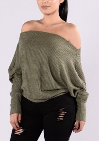 Army Green Plain Irregular Boat Neck Fashion Polyester Pullover Sweater