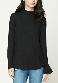 Black Plain Irregular Tie Back Round Neck Fashion Sweater