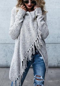 Grey Plain Tassel Irregular Long Sleeve Fashion Cardigan Sweater