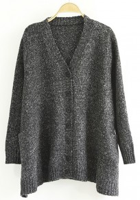 Black Plain Pockets Long Sleeve Cardigan