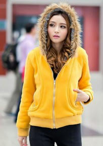 Yellow Plain Faux Fur Decorated Hooded Collar Thick Cotton Cardigan Sweatshirt
