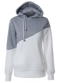 Grey Color Block Drawstring Casual Polyester Pullover Hooded Sweatshirt