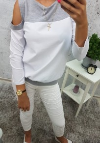 White Patchwork Cut Out Round Neck Long Sleeve Fashion Sweatshirt