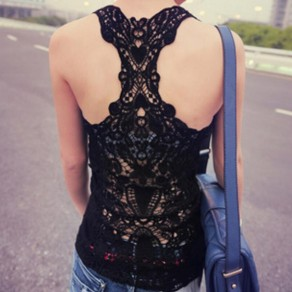 Black Patchwork Lace Hollow-out Round Neck Sleeveless Vest