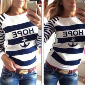 White Striped Round Neck Long Sleeve Loose T-Shirt