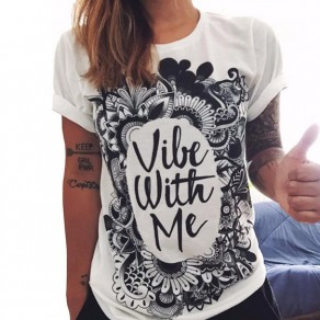 White Slogan Print Round Neck Short Sleeve Plus Size Casual T-shirt