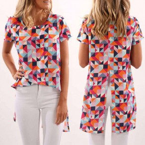Multicolor Geometric Print Irregular Slit High-low Short Sleeve Casual T-shirt