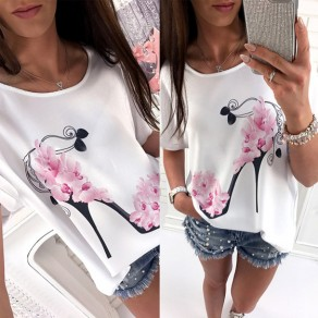 White Flowers High-heeled Shoes Print Short Sleeve Oversize Casual T-shirt