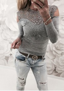 Grey Patchwork Lace Cut Out Round Neck Fashion T-Shirt