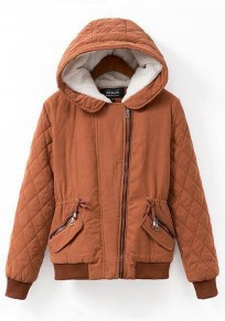 Orange Plain Drawstring Hooded Padded Coat
