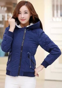 Blue Plain Drawstring Hooded Padded Coat