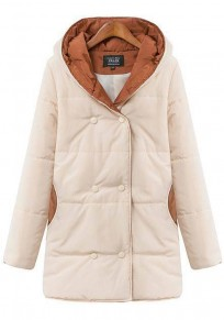Beige Patchwork Hooded Padded Coat