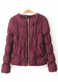 Wine Red Plain Puff Sleeve Padded Coat