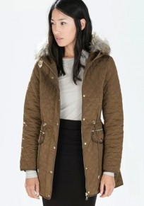 Dark Khaki Plain Drawstring Padded Coat
