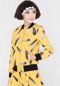 Yellow Patchwork Feathers Print Pockets Trench Coat