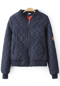 Blue Plain Zipper Padded Coat